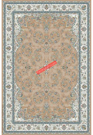 فرش ساوین 3002 بژ کلاسیک اتاق پذیرایی