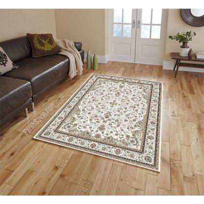 فرش ساوین 3002 کرم کلاسیک اتاق پذیرایی