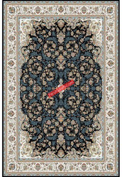 فرش ساوین 3002 سرمه ای کلاسیک اتاق پذیرایی