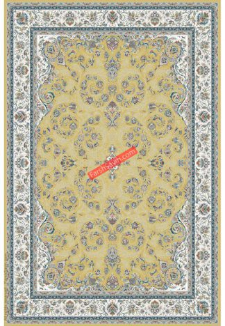 فرش ساوین 3002 زرد کلاسیک پذیرایی