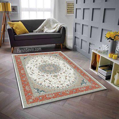 فرش ساوین 3003 کرم حاشیه مسی کلاسیک