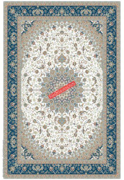 فرش ساوین 3003 کرم حاشیه آبی کلاسیک