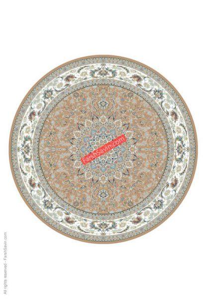 فرش ساوین 3003 بژ گرد کلاسیک