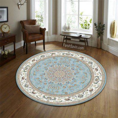 فرش ساوین 3003 آبی گرد کلاسیک اتاق پذیرایی