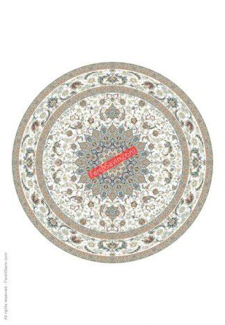 فرش ساوین 3003 کرم گرد کلاسیک پذیرایی