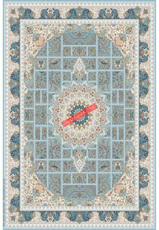 فرش ساوین 3005 آبی کلاسیک اتاق پذیرایی