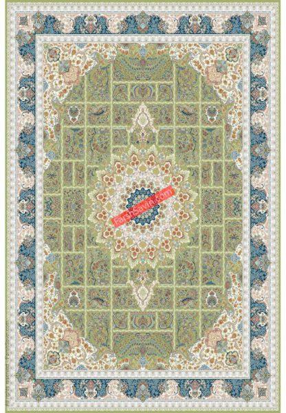 فرش ساوین 3005 سبز کلاسیک پذیرایی