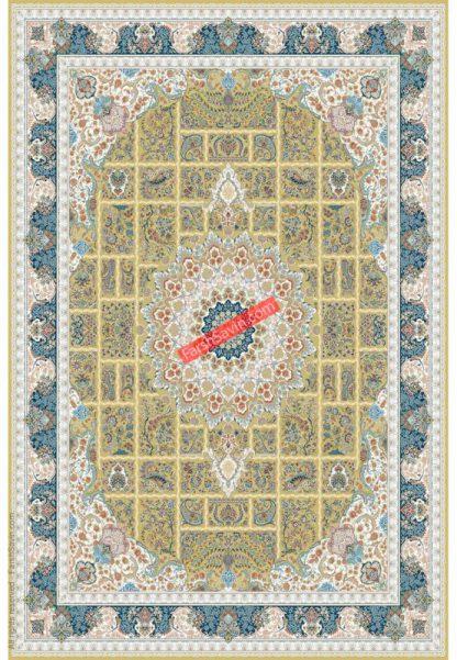 فرش ساوین 3005 زرد کلاسیک پذیرایی