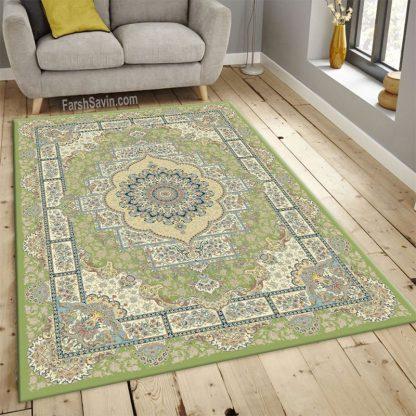 فرش ساوین 3007 سبز کلاسیک اتاق پذیرایی