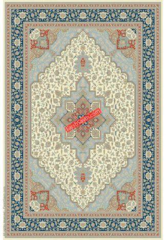 فرش ساوین 3008 کرم کلاسیک اتاق پذیرایی