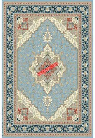 فرش ساوین 3008 آبی کلاسیک اتاق پذیرایی