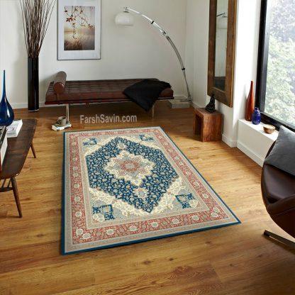 فرش ساوین 3008 سرمه ای کلاسیک