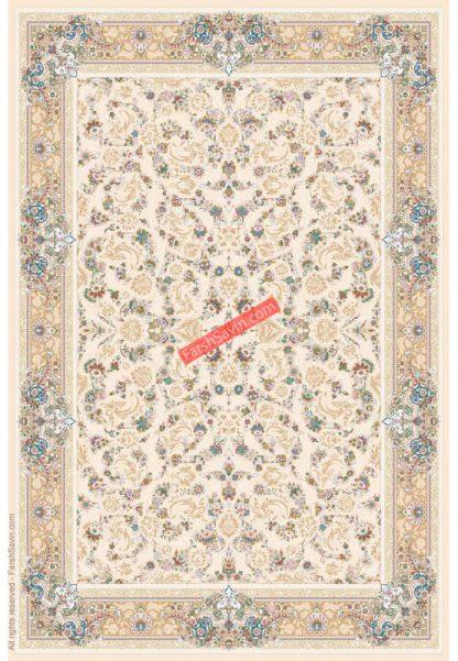 فرش ساوین 3120 کرم استخوانی حاشیه بژ کلاسیک