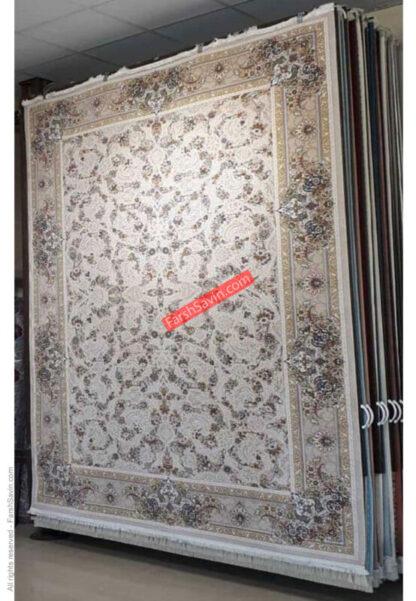 فرش ساوین 3120 کرم استخوانی حاشیه بژ پذیرایی