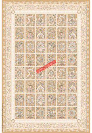 فرش ساوین 3122 بژ کلاسیک اتاق پذیرایی