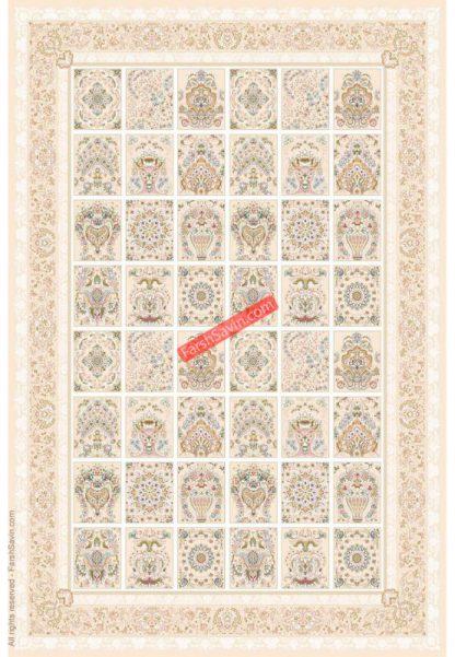 فرش ساوین 3122 کرم استخوانی کلاسیک