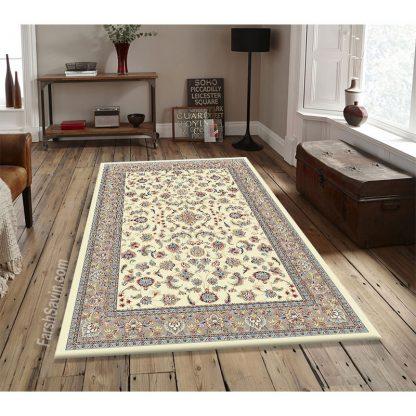 فرش ساوین 4501 کرم کلاسیک اتاق پذیرایی