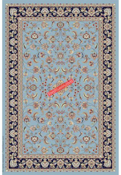 فرش ساوین 4501 آبی کلاسیک پذیرایی