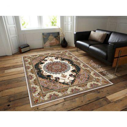 فرش ساوین مهشید کرم کلاسیک اتاق پذیرایی
