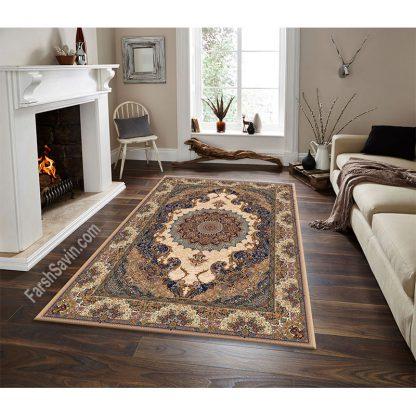 فرش ساوین مهشید بژ کلاسیک پذیرایی