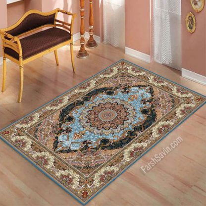 فرش ساوین مهشید آبی کلاسیک اتاق پذیرایی