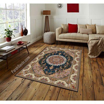 فرش ساوین مهشید سرمه ای کلاسیک اتاق پذیرایی