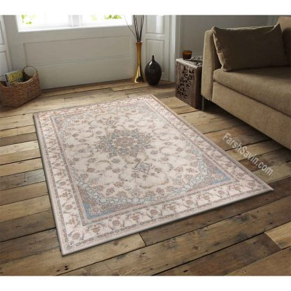 فرش ساوین اقاقیا کرم کلاسیک اتاق پذیرایی