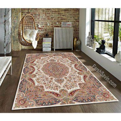 فرش ساوین عقیق کرم کلاسیک اتاق پذیرایی