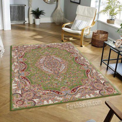 فرش ساوین عقیق سبز کلاسیک اتاق پذیرایی