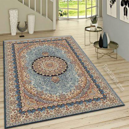 فرش ساوین گل نما آبی کلاسیک اتاق پذیرایی