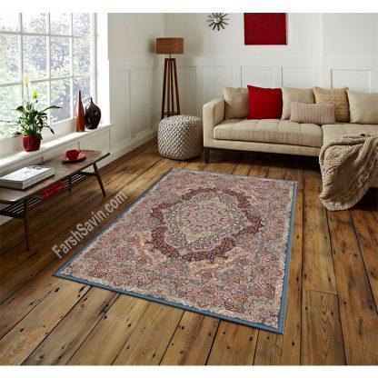 فرش ساوین یاقوت آبی کلاسیک اتاق پذیرایی