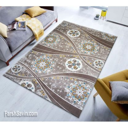 فرش ساوین 1513 آبی مدرن و فانتزی