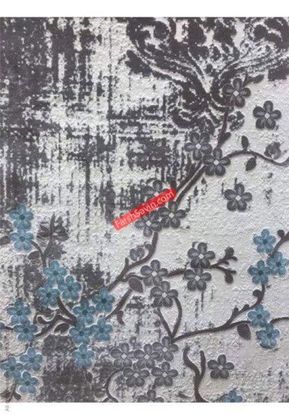 فرش ساوین 1519 آبی مدرن و فانتزی