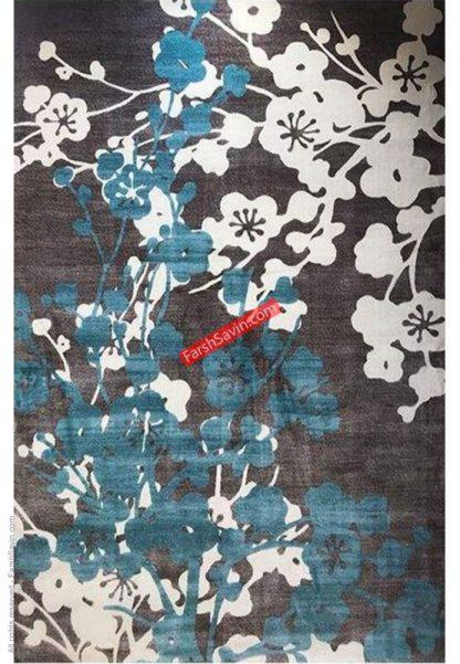 فرش ساوین 1520 آبی مدرن و فانتزی