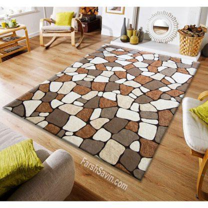 فرش ساوین سنگی قهوه ای مدرن و فانتزی
