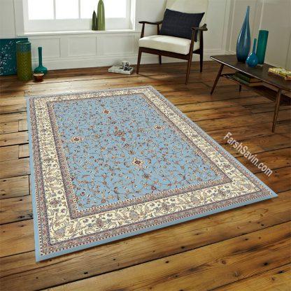 فرش ساوین 4503 زمینه آبی مدرن
