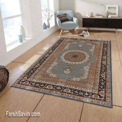 فرش ساوین 4502 آبی اتاق پذیرایی