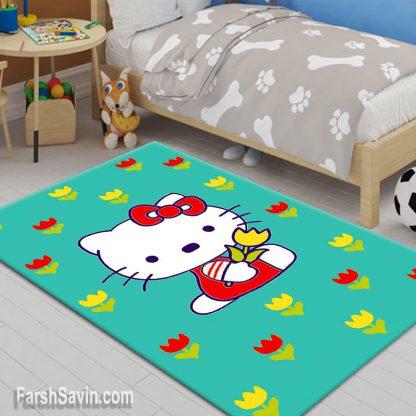 فرش ساوین طرح هلو کیتی(نی نی گل) آبی اتاق کودک