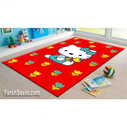 فرش ساوین طرح هلو کیتی(نی نی گل) قرمز اتاق کودک