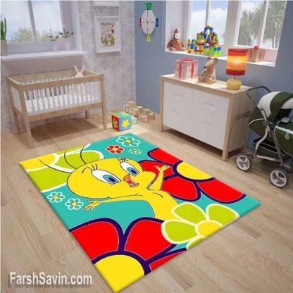 فرش ساوین طرح توئیتی زمینه آبی اتاق کودک