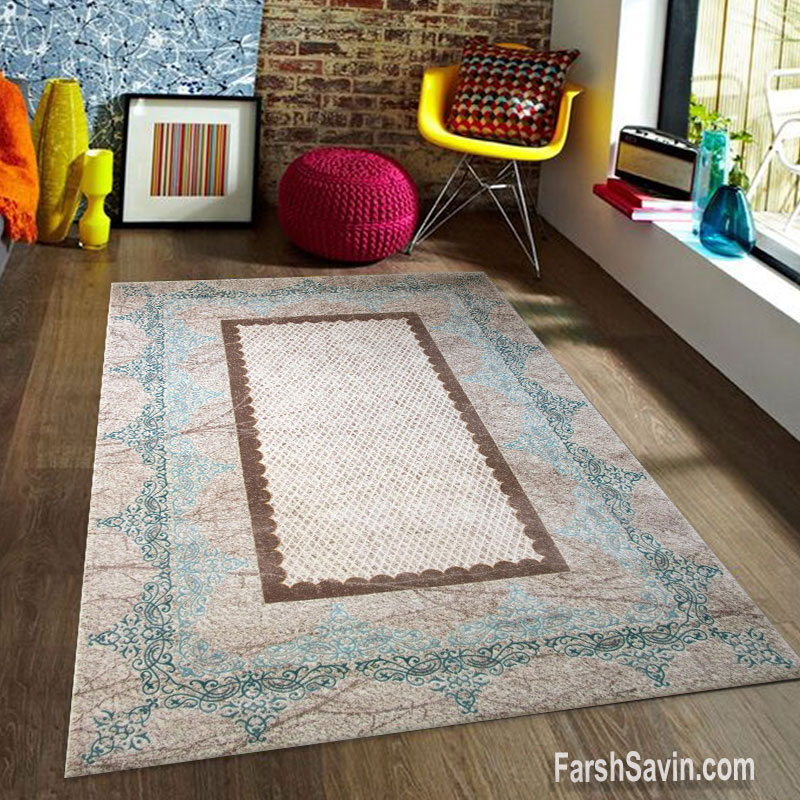 فرش ساوین 1505 آبی مدرن و فانتزی