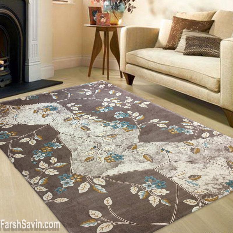 فرش ساوین 1512 زمینه آبی اتاق پذیرایی