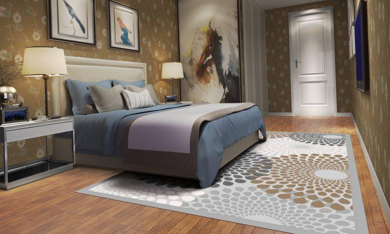 فرش ساوین 7404 نقره ای روشن اتاق خواب