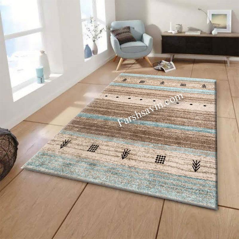 فرش ساوین 4002 شکلاتی فرش اتاق خواب