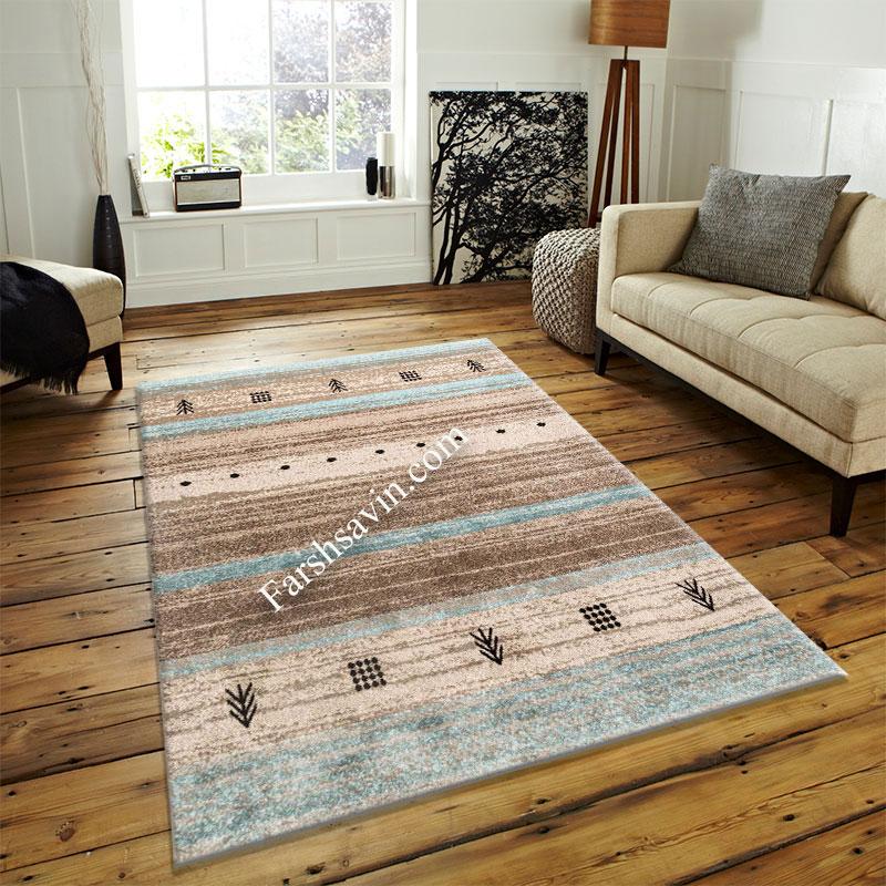 فرش ساوین 4002 شکلاتی فرش خوش نقشه