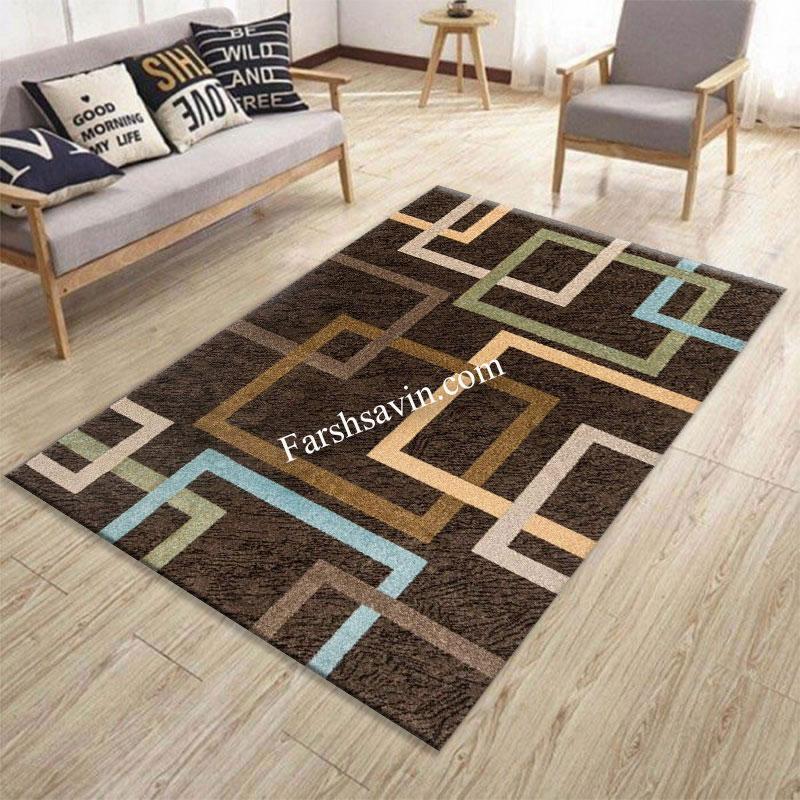 فرش ساوین 4003 نسکافه ای فرش اعلا
