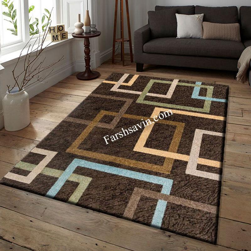 فرش ساوین 4003 نسکافه ای فرش زیبا ومدرن