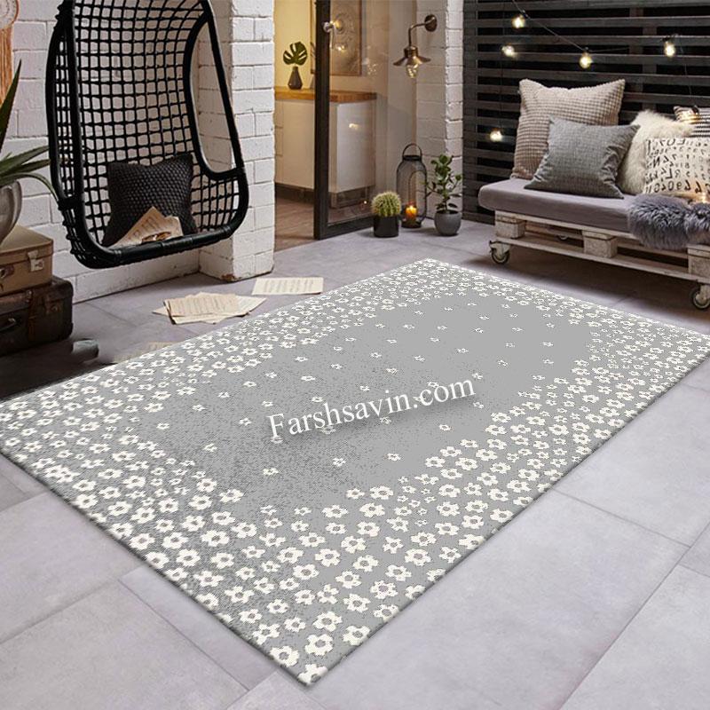 فرش ساوین 4007 نقره ای فرش اتاق پذیرایی