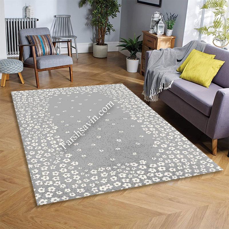 فرش ساوین 4007 نقره ای فرش با دوام