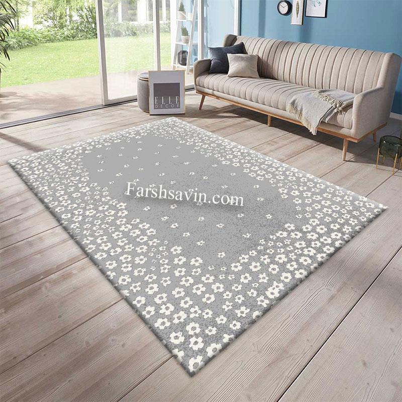 فرش ساوین 4007 نقره ای فرش پر فروش